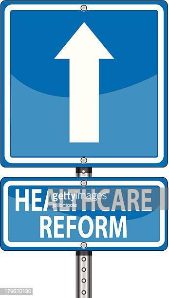 ilustrações, clipart, desenhos animados e ícones de sinal de estrada arrow/reforma da assistência médica - reforma assunto