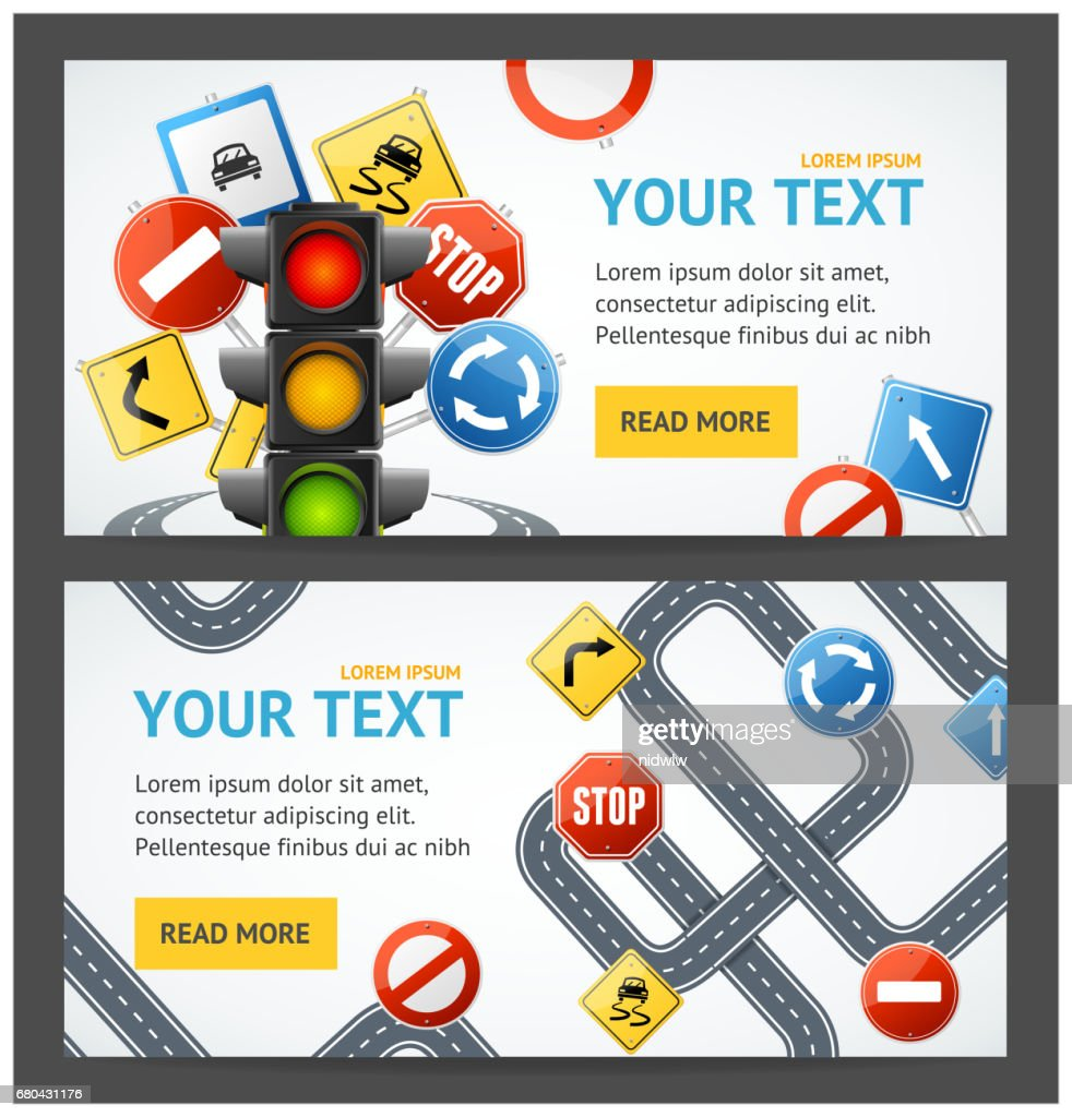 Road Sign Drive School Flyer Banner Posters Card Set. Vector