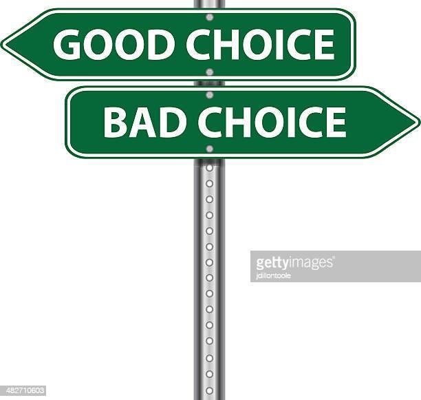 road sign | good bad choice - rudeness stock illustrations
