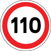Road sign in France: speed limit at 110 km / h (One hundred and ten kilometers per hour)