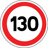 Road sign in France: speed limit at 130 km / h (one hundred and thirty kilometers per hour)