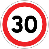 Road sign in France: speed limit at 30 km / h (thirty kilometers per hour)