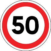 Road sign in France: speed limit at 50 km / h (fifty kilometers per hour)