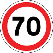 Road sign in France: speed limit at 70 km / h (seventy kilometers per hour)