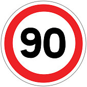 Road sign in France: speed limit at 90 km / h (ninety kilometers per hour)
