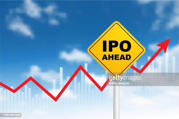 """road sign - """"ipo ahead"""" - initial public offering stock illustrations"""