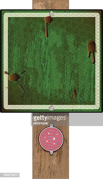 Holz Schild auf Post/Grün Grunge-Reflektor