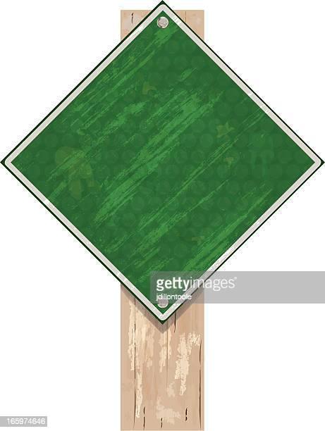 Schild auf Post/Grün Grunge Holz