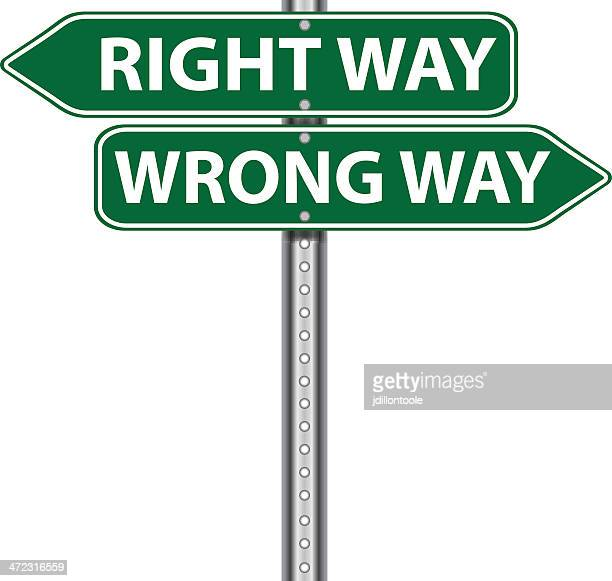 road sign | right wrong - wrong way stock illustrations, clip art, cartoons, & icons
