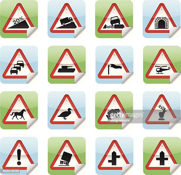 road sign stickers - crossing sign stock illustrations, clip art, cartoons, & icons
