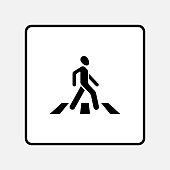 road sign the crosswalk, walking man