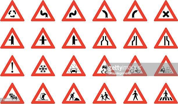road sign - verkehrswarnung stock-grafiken, -clipart, -cartoons und -symbole