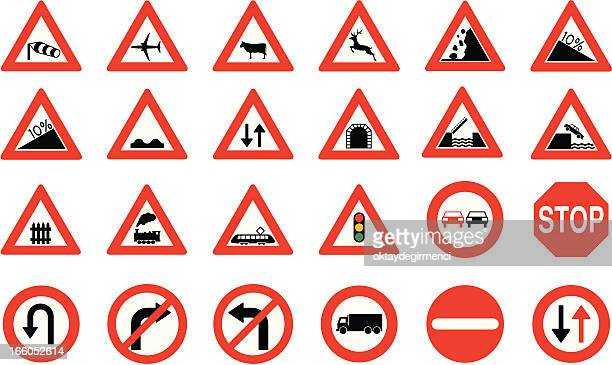 road sign - crossing sign stock illustrations, clip art, cartoons, & icons