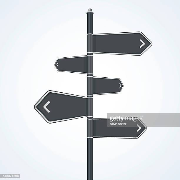 road sign - directional sign stock illustrations