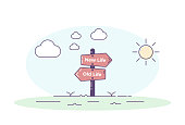 Road signpost pointing towards a new personal beginning. Old life and new life directions with clouds in one side and the sun in the other. Vector concept illustration