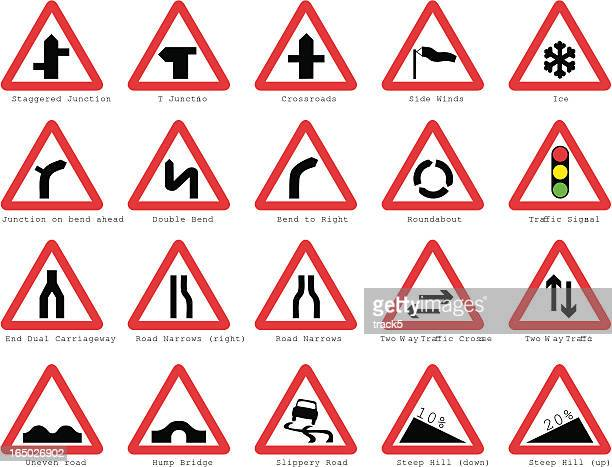 uk road signs: basic junctions - road sign stock illustrations, clip art, cartoons, & icons