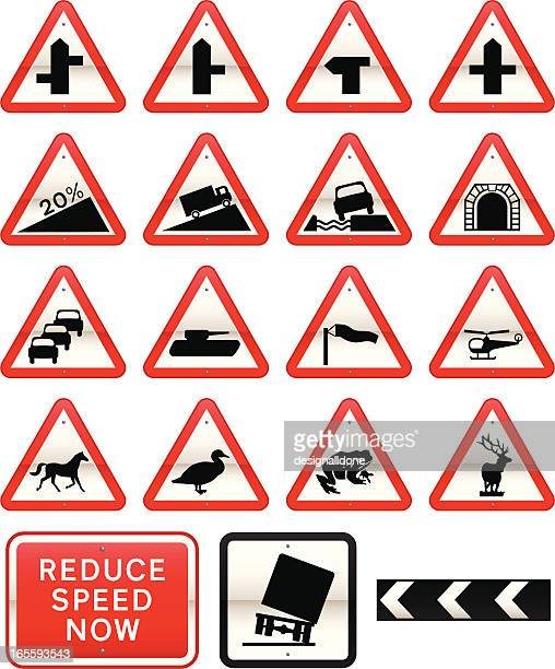 uk road signs cautionary series set 2 - steep stock illustrations, clip art, cartoons, & icons
