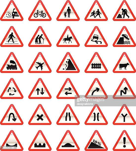 uk road signs: cautionary series - pedestrian stock illustrations, clip art, cartoons, & icons