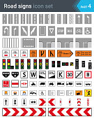 Road signs isolated on white background. Road markings signs, cycleway signs, traffic signals signs, complementary plates and tram signs.