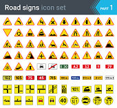 Road signs isolated on white background. Warning signs, complementary plates and military signs.