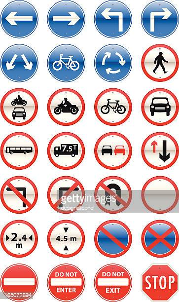 road signs mandatory series - road sign stock illustrations, clip art, cartoons, & icons