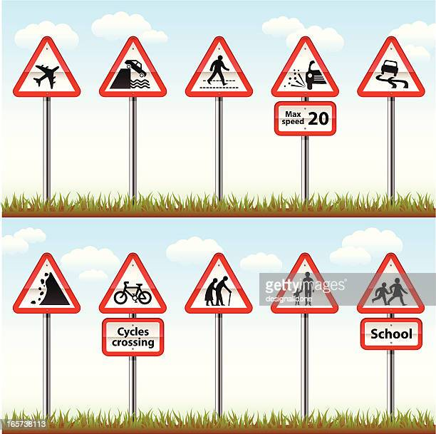 road signs on posts (warning series) - zebra crossing stock illustrations