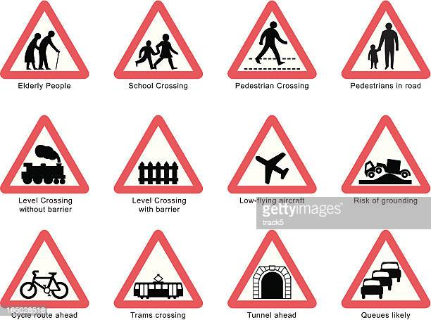uk road signs: people and transport isolated on white - road sign stock illustrations, clip art, cartoons, & icons
