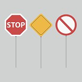 Road signs set. Isolated on grey background
