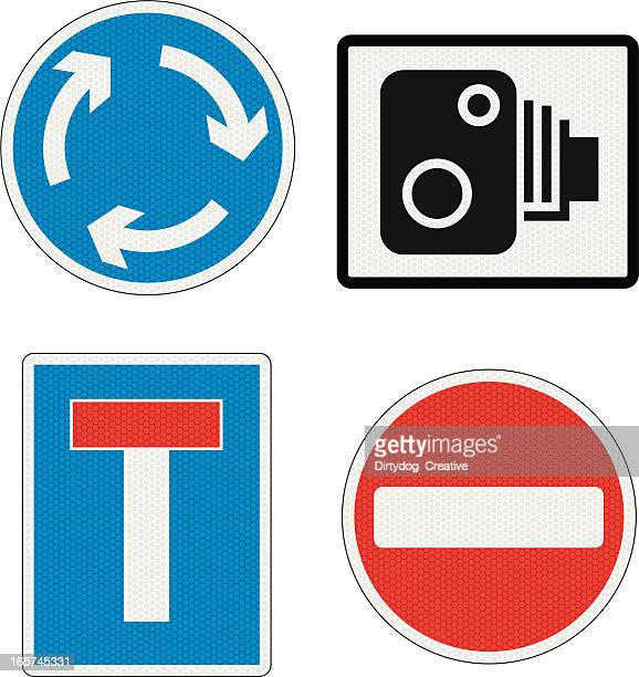 road signs uk with reflection detail - road sign stock illustrations, clip art, cartoons, & icons