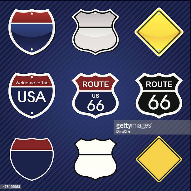 road signs - multiple lane highway stock illustrations