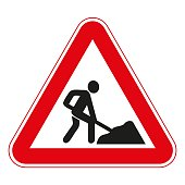 road signs vector. traffic sign. Roadworks ahead.