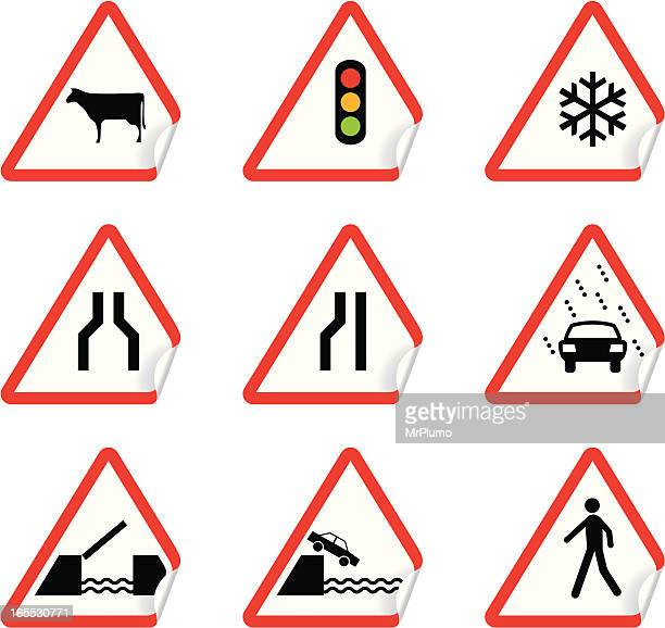 road signs    warning stickers - animal crossing sign stock illustrations