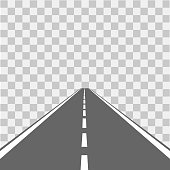 Road, street with asphalt. Highway. Vector illustration.
