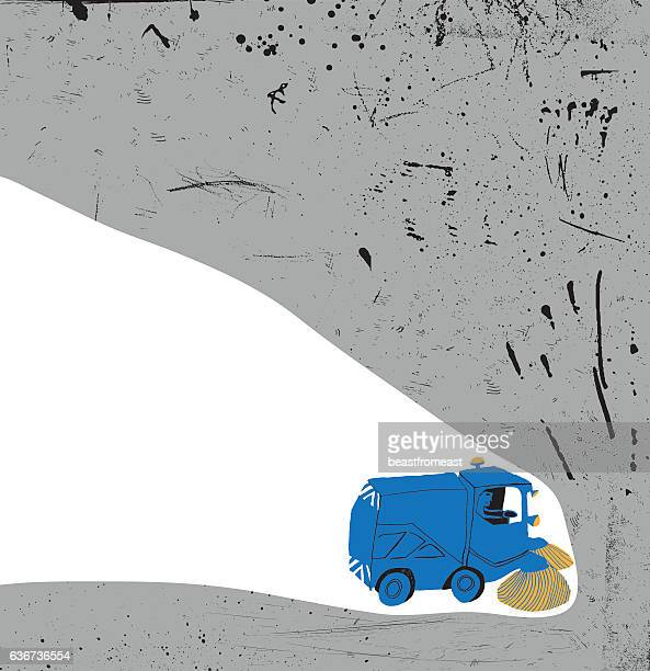 road sweeper - street sweeper stock illustrations