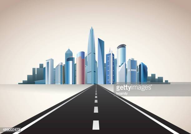 illustrations, cliparts, dessins animés et icônes de route de la ville - ville futuriste