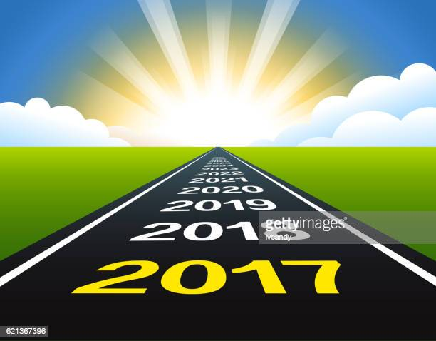road to new year 2017 - horizon stock illustrations, clip art, cartoons, & icons