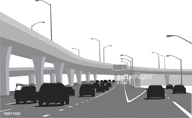 road to paradise vector silhouette - overpass road stock illustrations