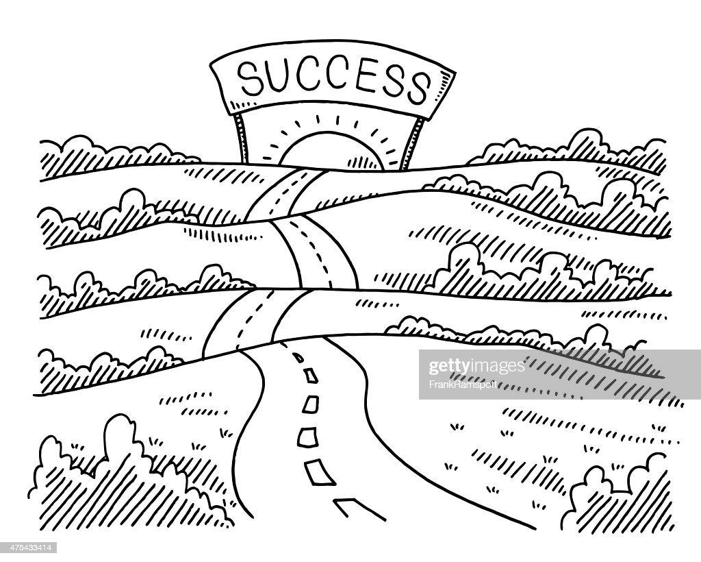 Road to success landscape drawing vector art getty images - Dessin de route ...