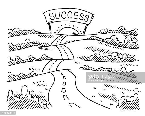 Landscape Hilly Road To The Sun Drawing Vector Art | Getty Images