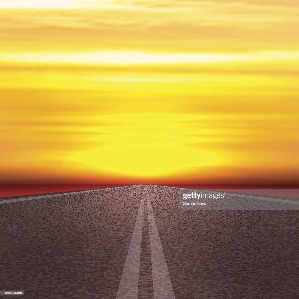 Road a sol : Ilustración de stock