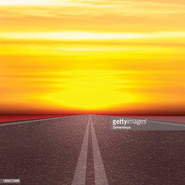 road を太陽 - 境界線点のイラスト素材/クリップアート素材/マンガ素材/アイコン素材