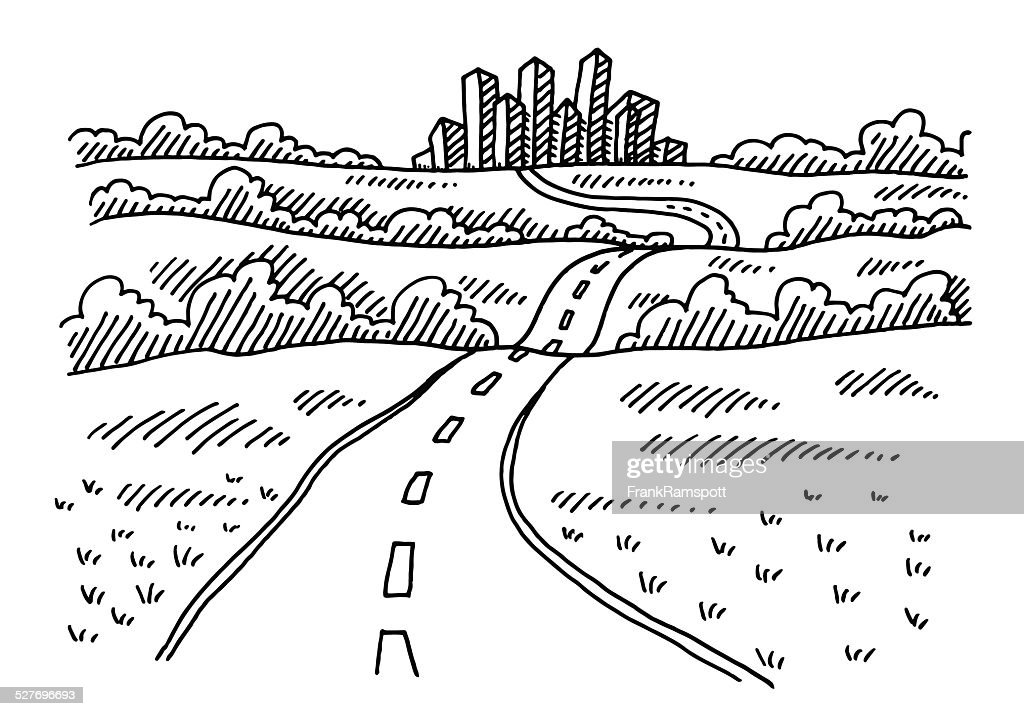 Road To The City Drawing Vector Art | Getty Images