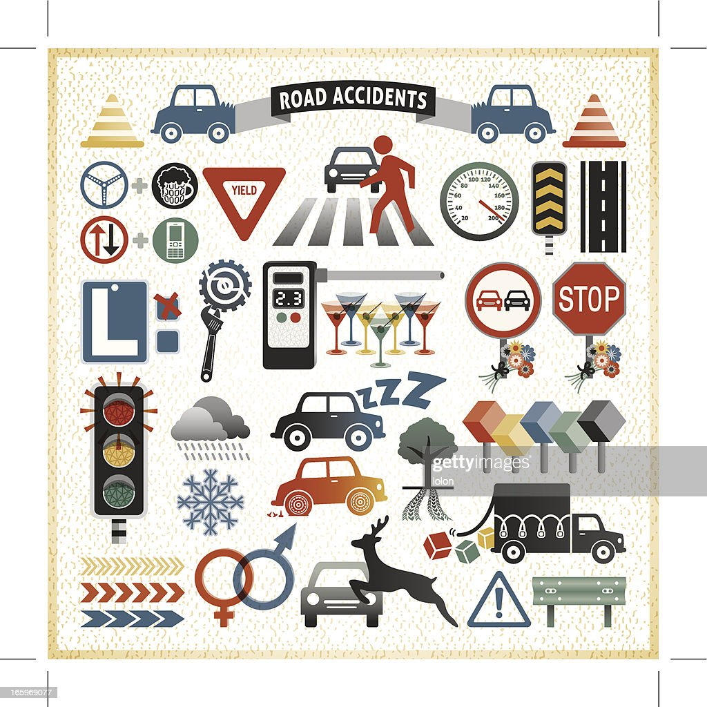 Road Traffic Accident Infographic Icons Vector Art | Getty Images