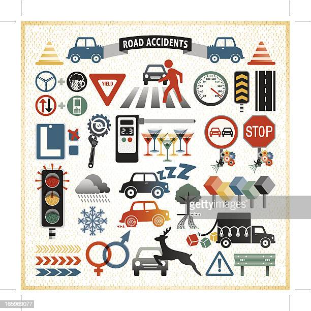 road traffic accident infographic icons - zebra crossing stock illustrations