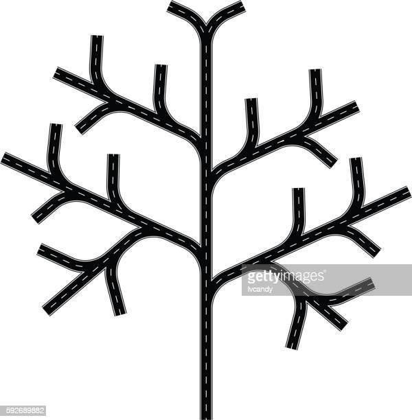 road tree - 分かれ道点のイラスト素材/クリップアート素材/マンガ素材/アイコン素材