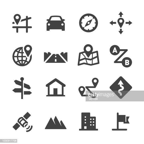 stockillustraties, clipart, cartoons en iconen met road trip en navigatie pictogrammen - acme serie - richting