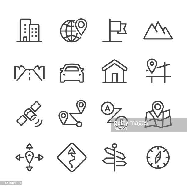 road trip and navigation icons - line series - overpass road stock illustrations