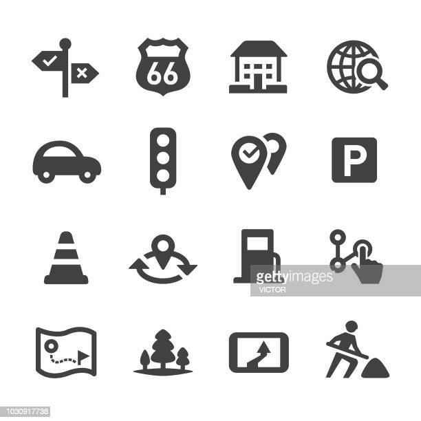 road trip and navigation icons set - acme series - electric vehicle charging station stock illustrations