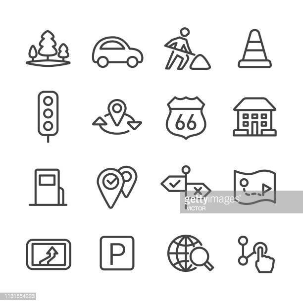road trip and navigation icons set - line series - stoplight stock illustrations