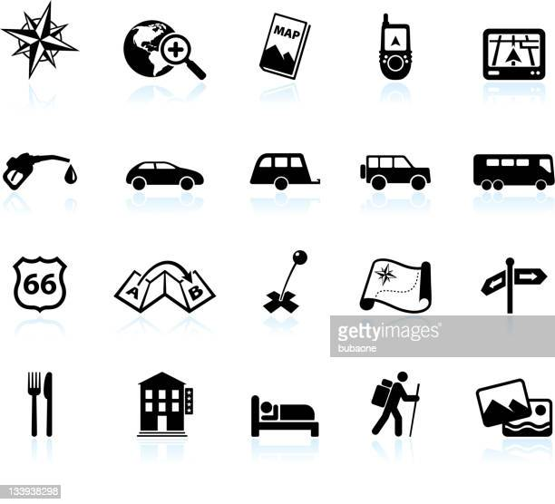 Road trip and travel black & white vector icon set
